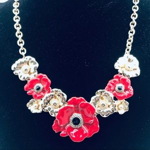 Talbots NWOT Necklace.  Red and Gold